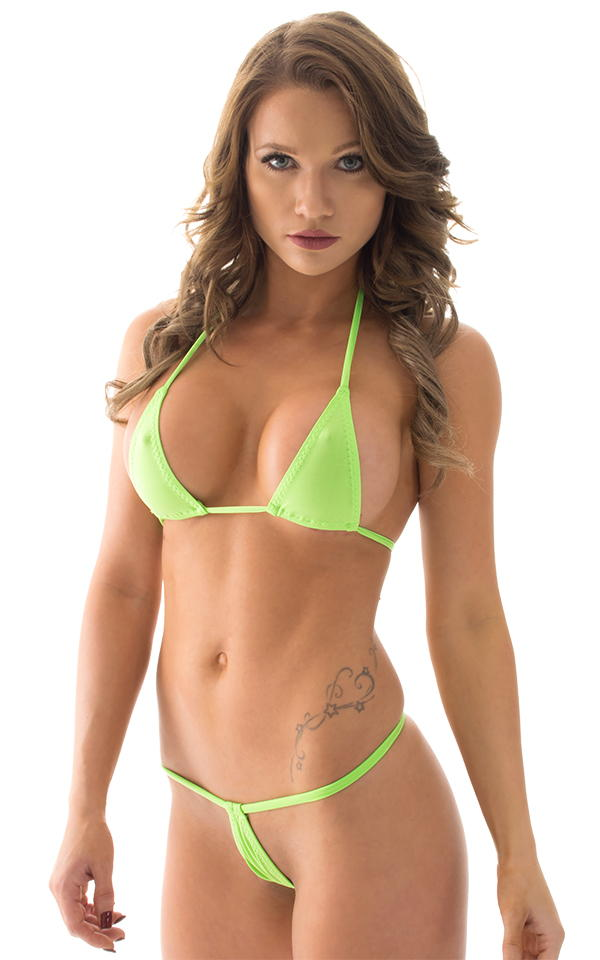 Teardrop G String Micro Bikini In Thinskinz Lime By Skinz