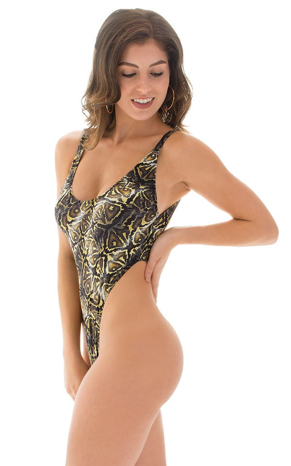 One Piece Thong Swimsuit in Super ThinSKINZ Coiled Python 3