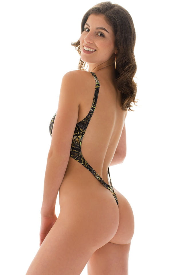 One Piece Thong Swimsuit in Super ThinSKINZ Coiled Python 2
