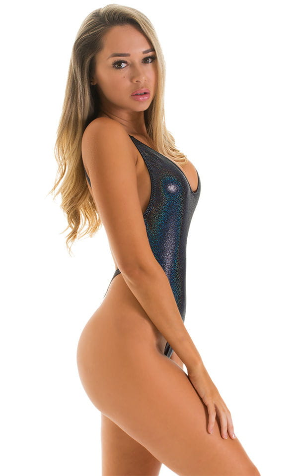 One Piece Thong Swimsuit in Night Sparkles 3