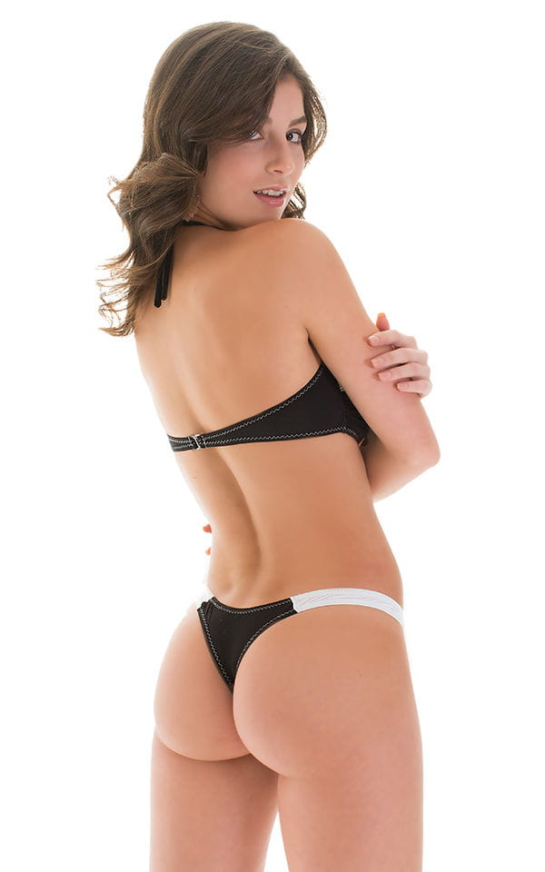 Color Blocked T Back Thong Bikini in Super ThinSKINZ Black & White 2