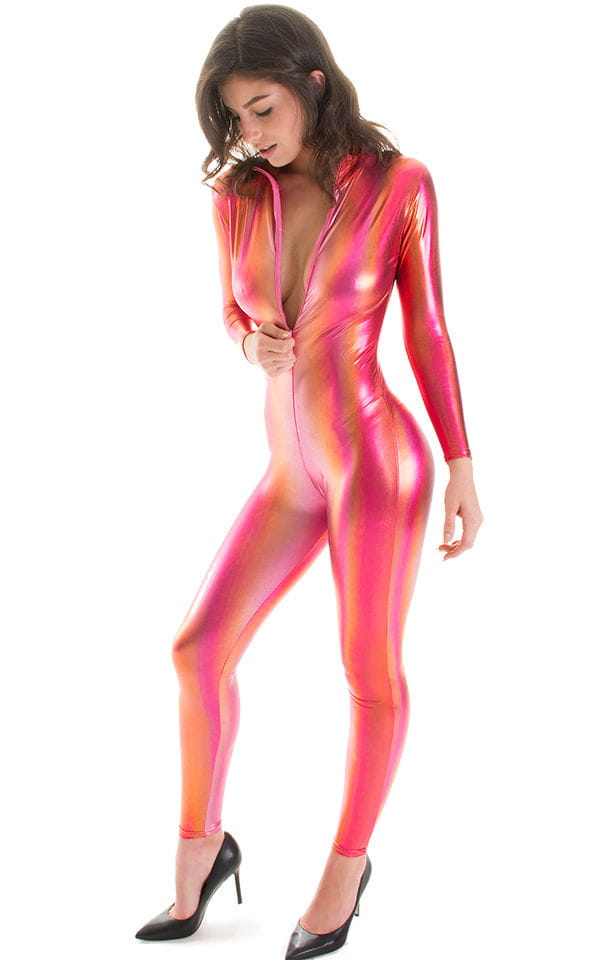 Front Zipper Catsuit-Bodysuit in Metallic Sunset Ombre 3