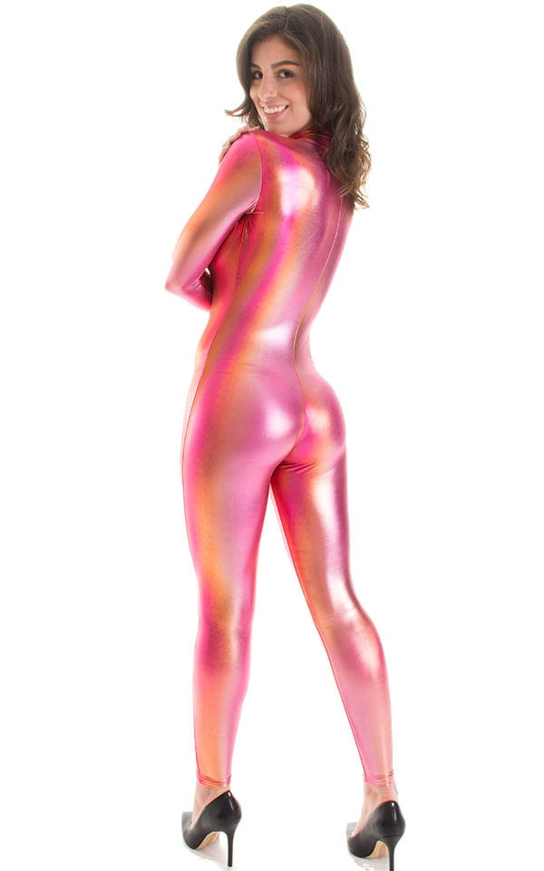 Front Zipper Catsuit-Bodysuit in Metallic Sunset Ombre 2