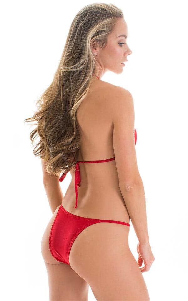Skinny Side Rio Bikini Bottom in Red with Rhinestone Ornaments 2