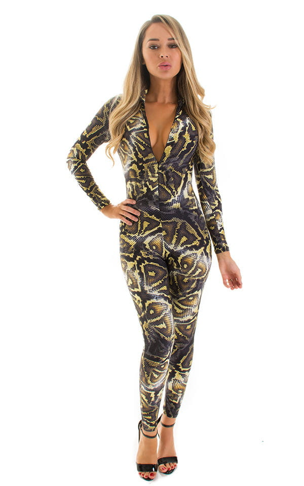Front Zipper Catsuit-Bodysuit in Super ThinSKINZ Giant Python 1