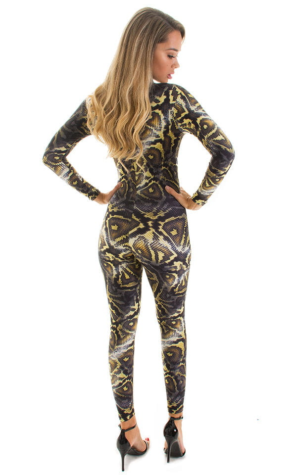 Front Zipper Catsuit-Bodysuit in Super ThinSKINZ Giant Python 2