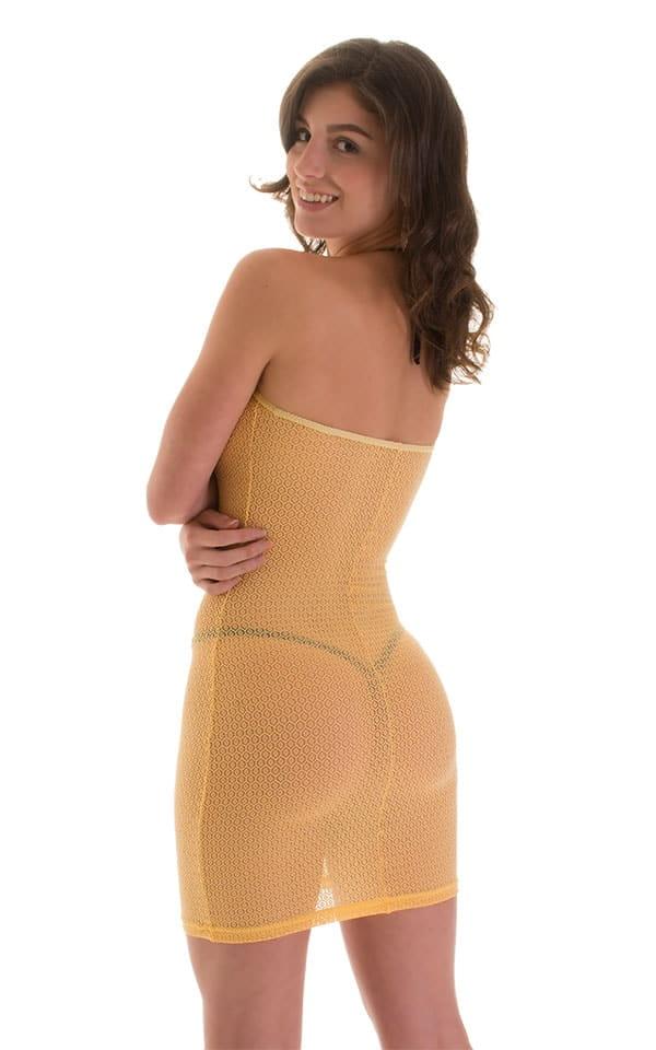Mini Strapless Bodycon Dress in Banana Stretch Lace 2