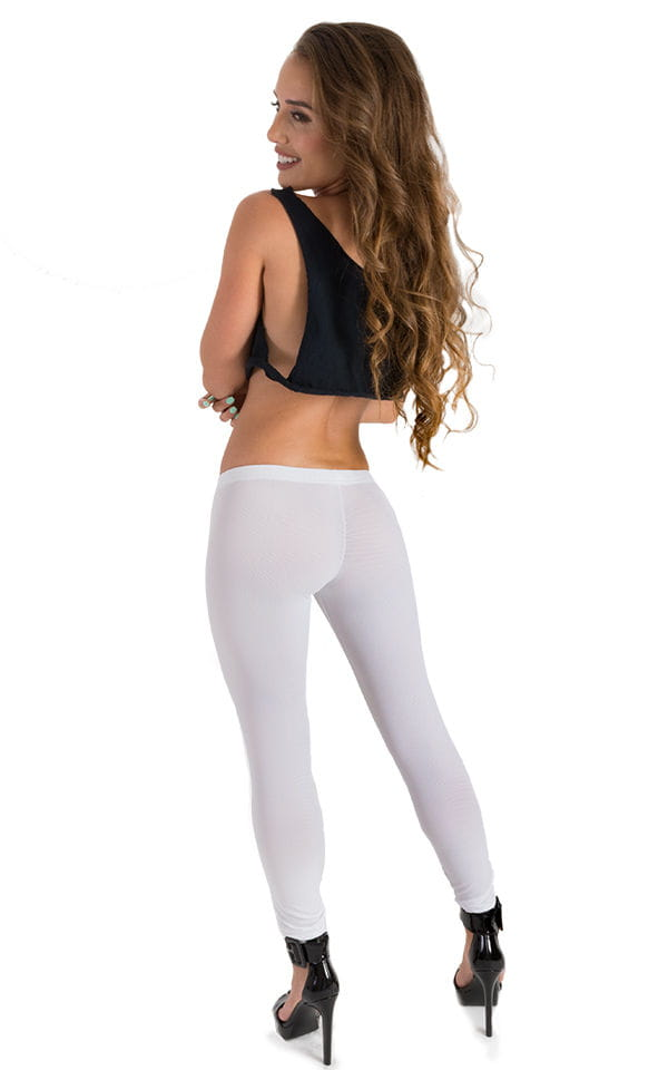 Womens Super Low Rise Fitness Leggings in White Powernet 2
