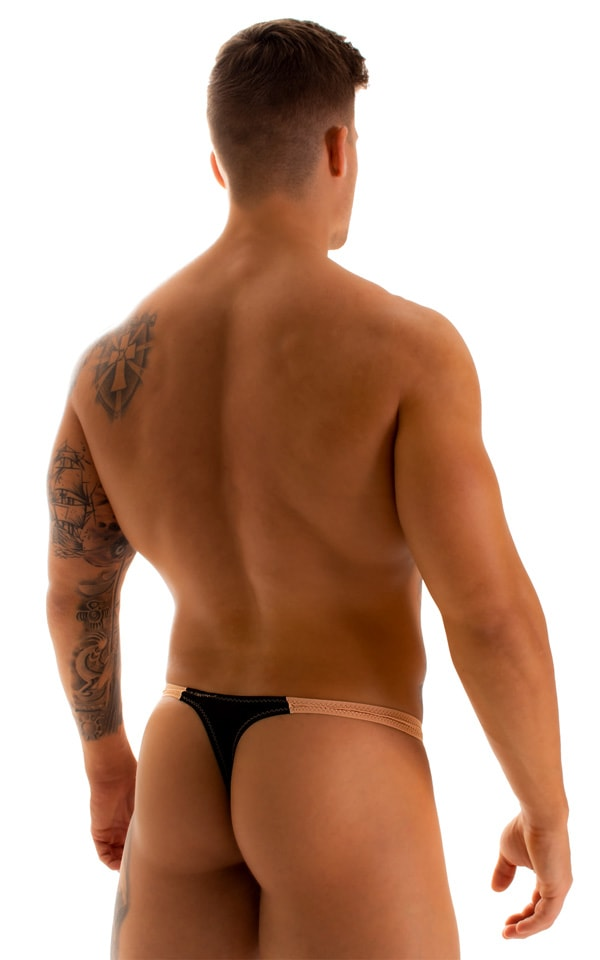 Color Blocked T Back Thong Swimsuit in Super ThinSkinz Black and Nude 2