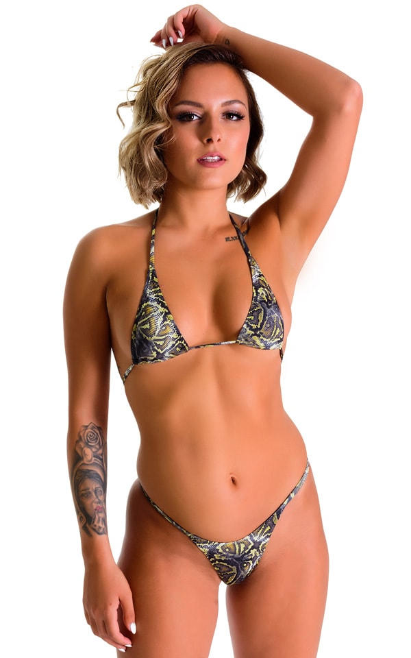 Maximum Tanning Triangle Top in Super ThinSKINZ Coiled Python 3