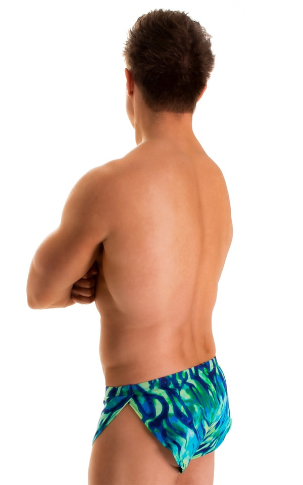 Swimsuit Cover Up Split Running Shorts in Beach Tiger Blue-Green 2