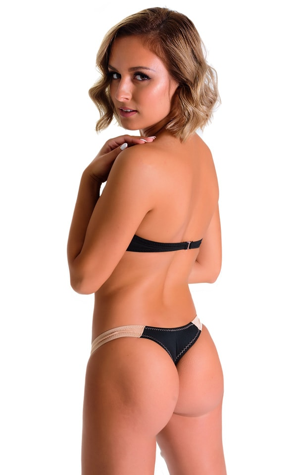 Color Blocked T Back Thong Bikini in Super ThinSKINZ Black and Nude 2