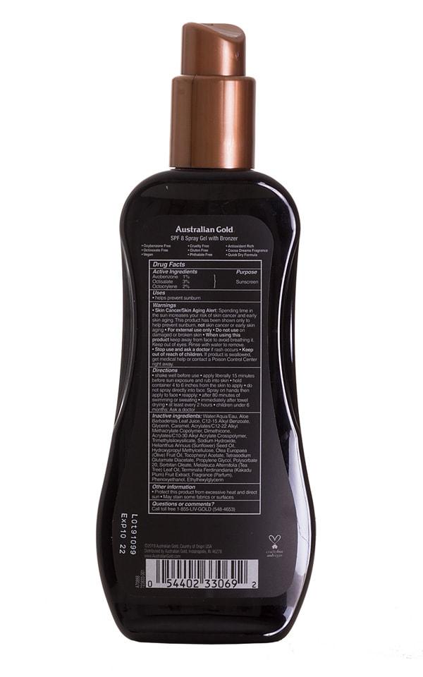 Australian Gold Instant Bronzer Spray Gel (SPF 8) 2