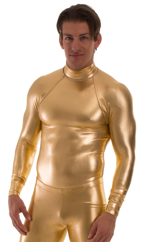 Swim Skin Rash Guard in Liquid Metallic Gold 3