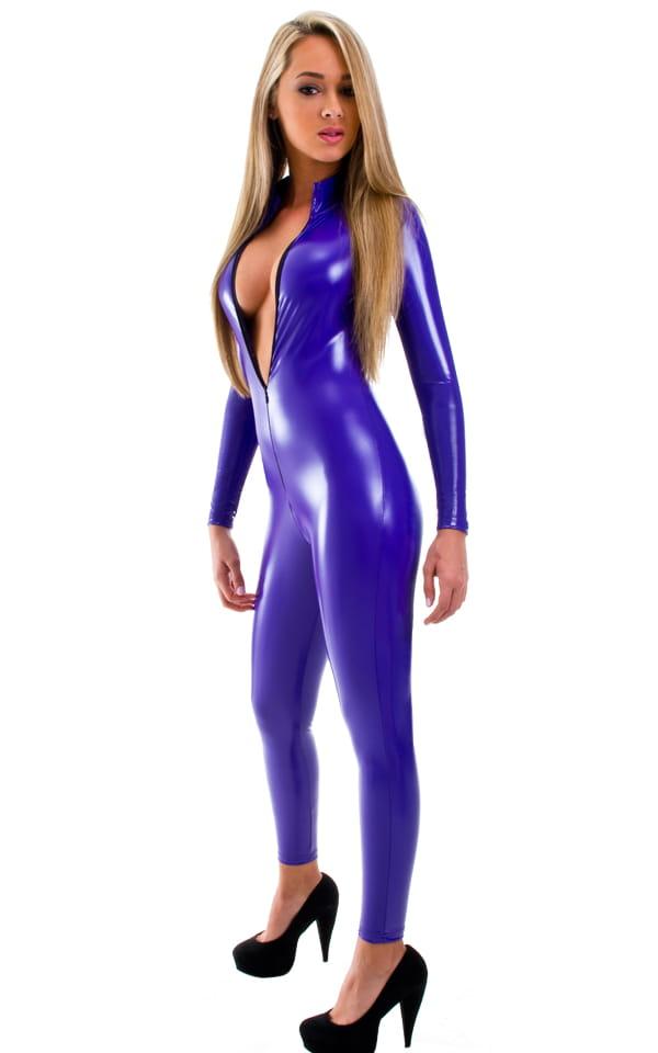 purple vinyl catsuit