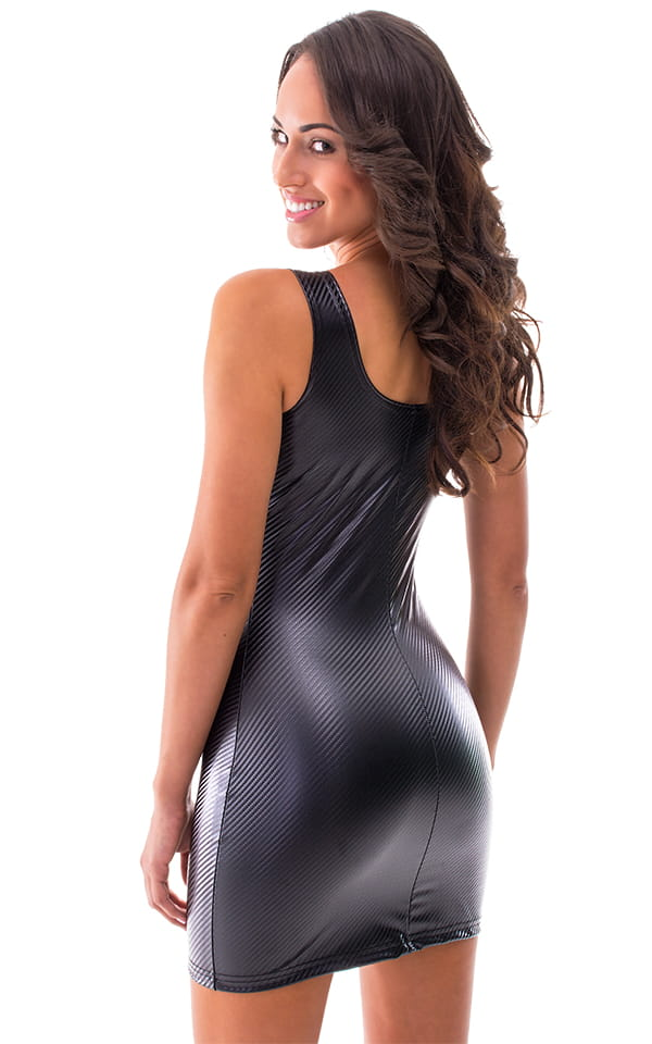 Sexy Mini Dress In Gloss Carbon Fiber Superstretch Vinyl