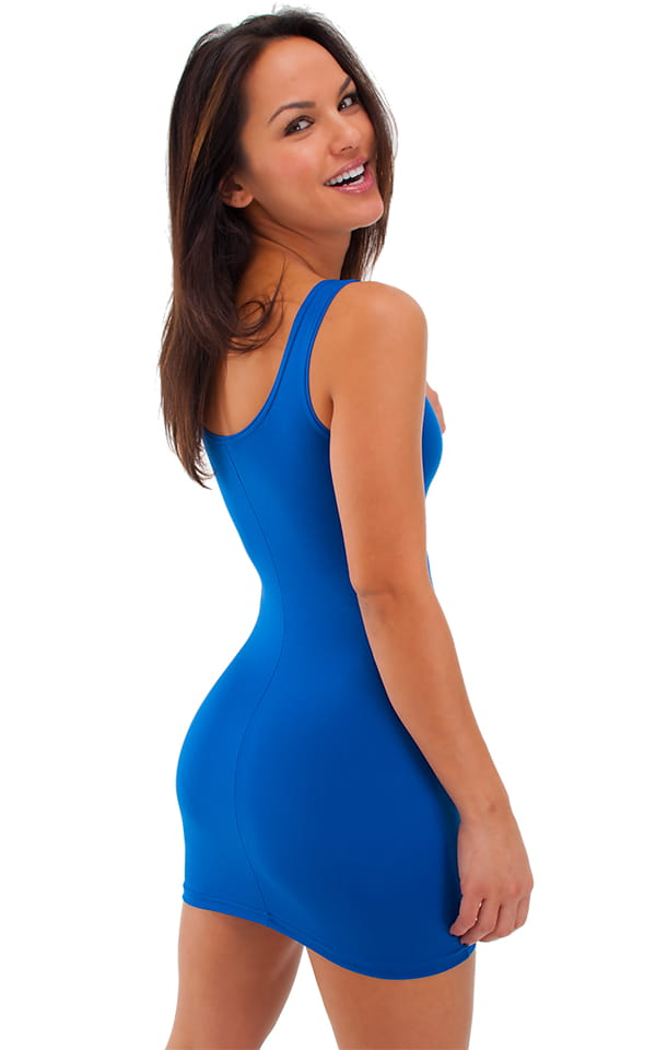 sexy mini dress in semi sheer thinskinz royal blue by skinz