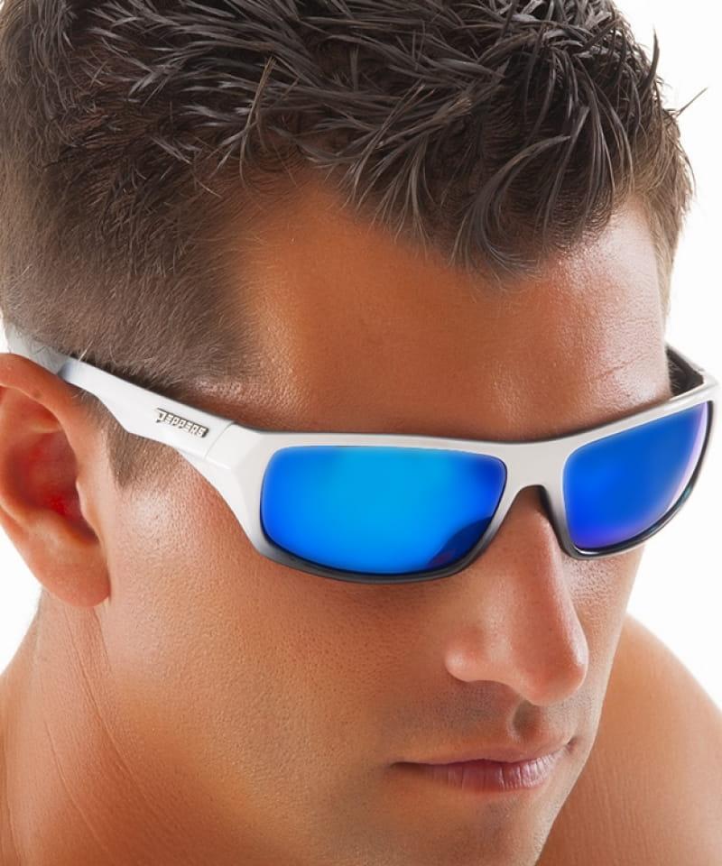 ab6e8212c9 Peppers Floating Polarized Sunglasses Turbot Ice Blue Mirror White Frame