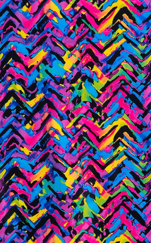 Super Low Brazilian Bikini in Neon Tye Dye Fabric