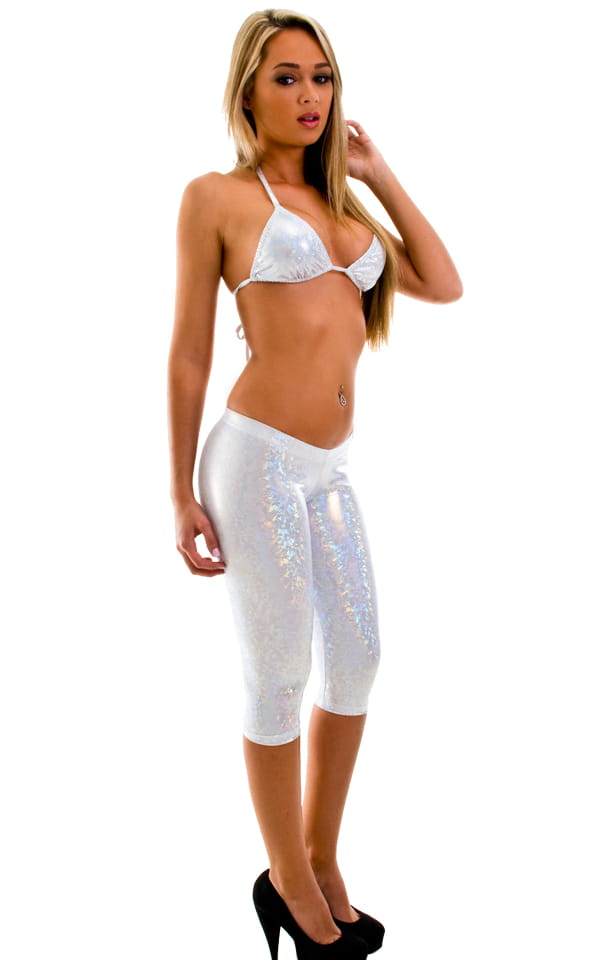 white shiny metallic capri leggings