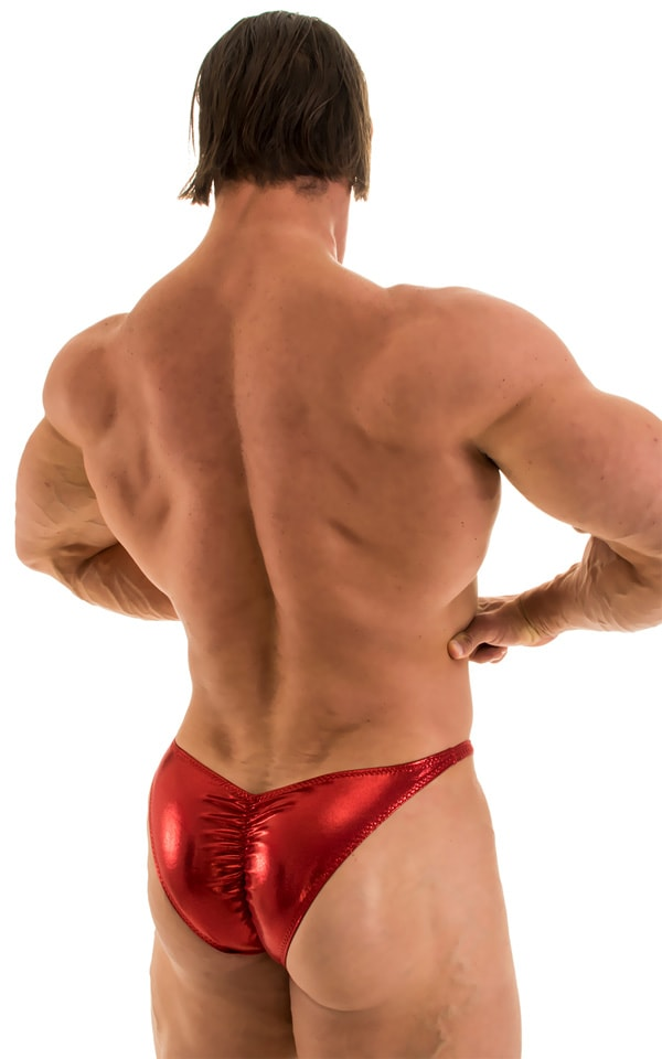 Posing Suit - Fitted Pouch - Puckered Back in Metallic Lipstick Red 1