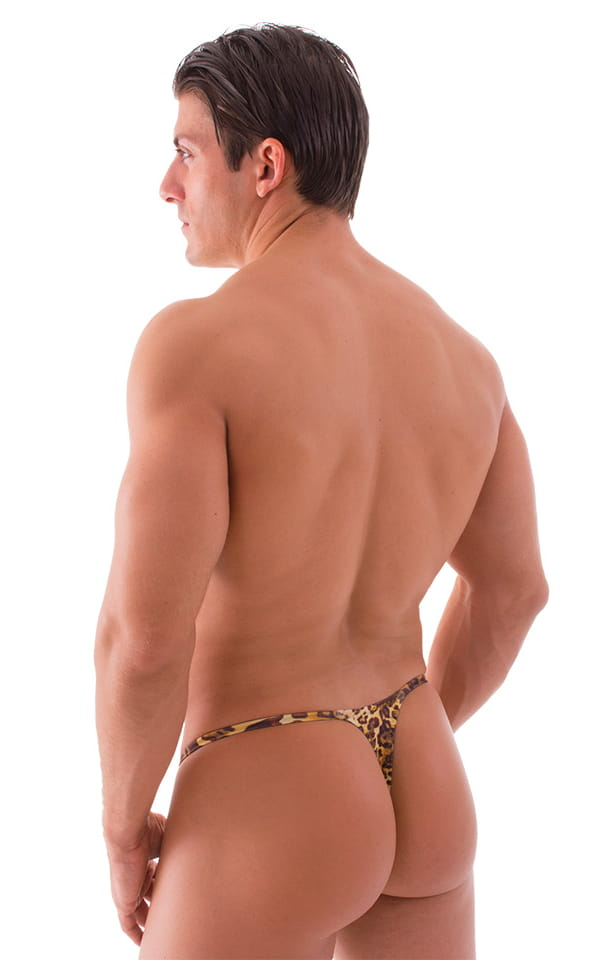 Smooth Pouch Skinny Sides Swim Thong in Jungle Kat 3