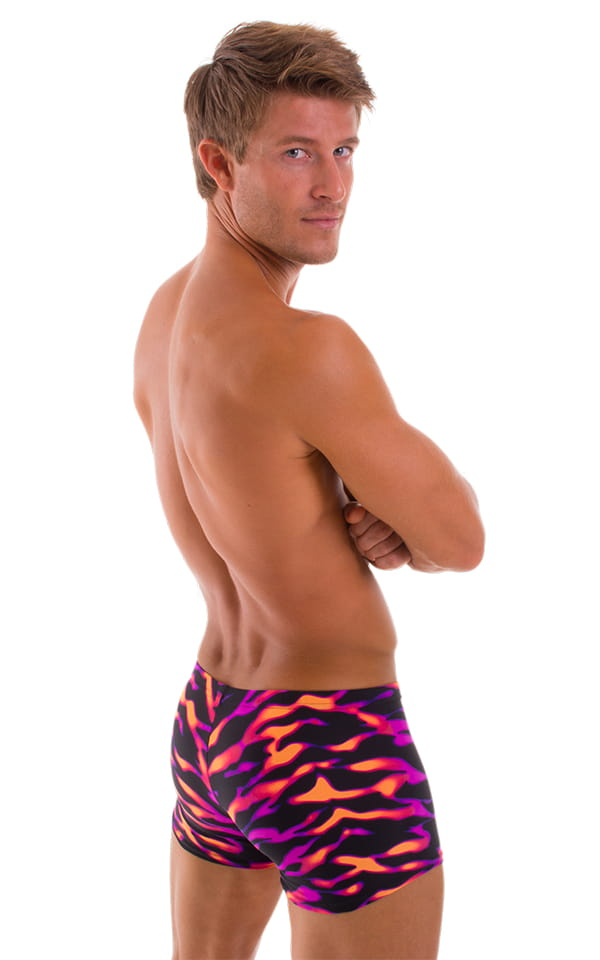 e842d870f8d Mens Square Cut Seamless Swim Trunks in Eye of the Tiger-Orange-Pink