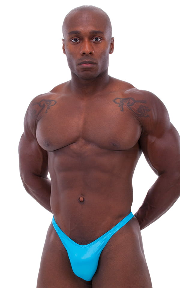 Bodybuilder Posing Suit - Narrow Back in Wet Look Turquoise 1