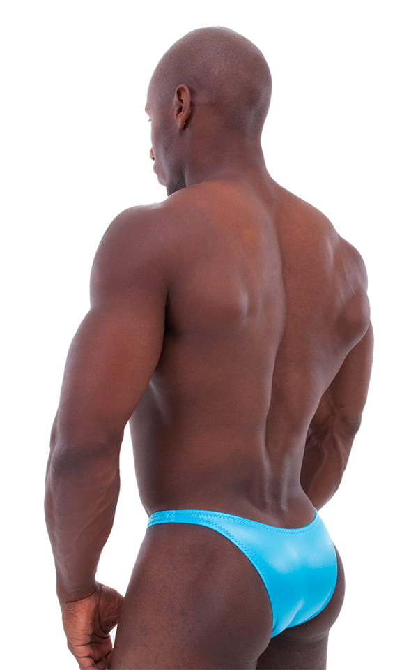 Bodybuilder Posing Suit - Narrow Back in Wet Look Turquoise 3