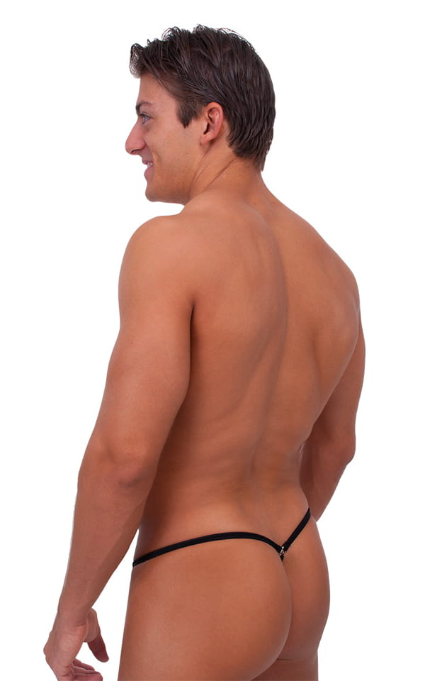 Stuffit Pouch G String Swimsuit in Wet Look Black 3