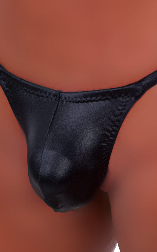 Stuffit Pouch G String Swimsuit in Wet Look Black 4