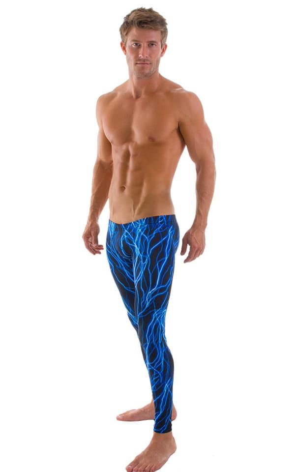 Mens SUPER Low Leggings Tights in Laser Blue Lightning 1