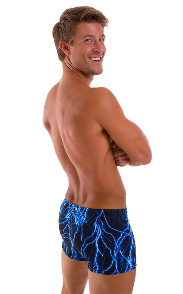 Square Cut Seamless Swim Trunks in Laser Blue Lightning 3