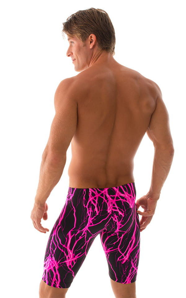 Lycra Bike Length Shorts in Hot Pink Lightning 3
