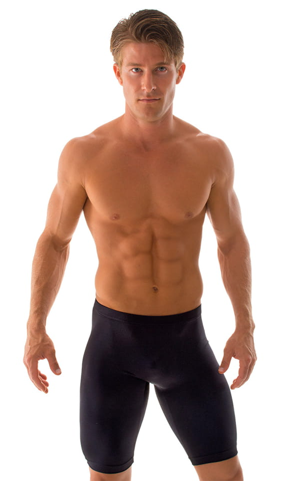 Lycra Bike Length Shorts in Wet Look Black 1