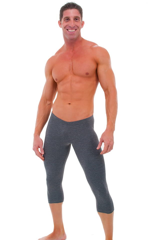 SUPER Low Capri Leggings in Dark Heather Grey Cotton-Spandex 10oz. 1
