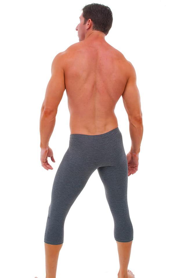 SUPER Low Capri Leggings in Dark Heather Grey Cotton-Spandex 10oz. 3