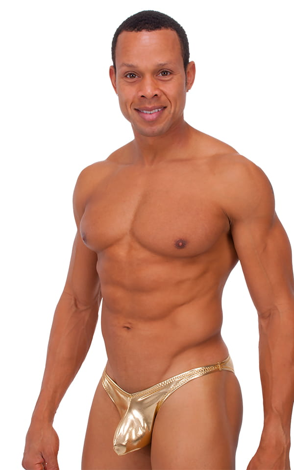 Exotic Dancer - Pouch Enhanced - Pistol Bikini in Metallic Liquid Gold 1