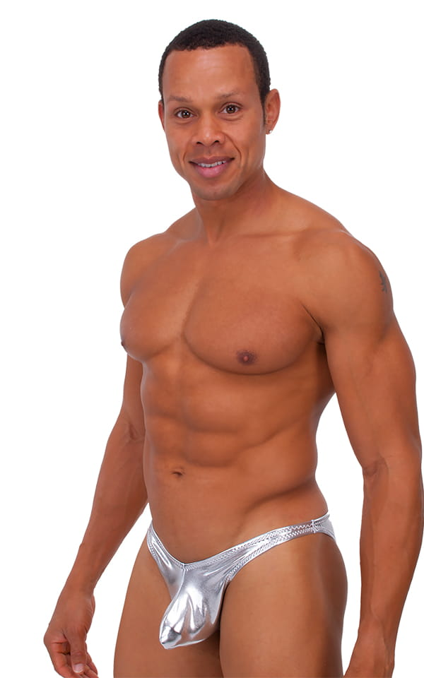 Exotic Dancer - Pouch Enhanced - Pistol Bikini in Metallic Liquid Silver 1