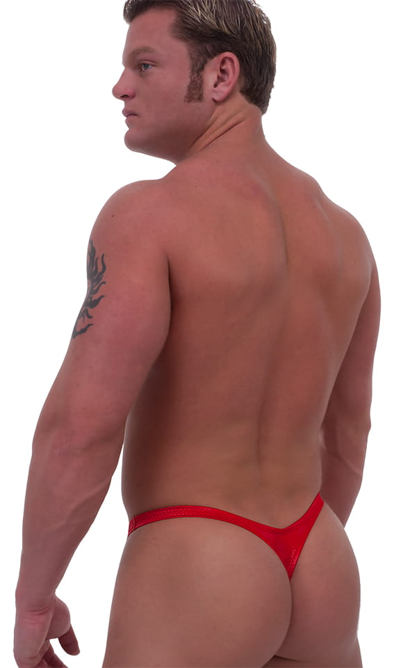 Pouch Enhanced Pistol Pete Thong in Wet Look Red (PRO Lining) 3