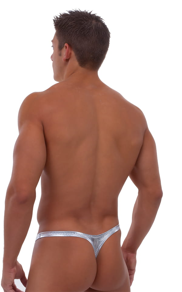 Pouch Enhanced Pistol Pete Thong in Liquid Silver 3