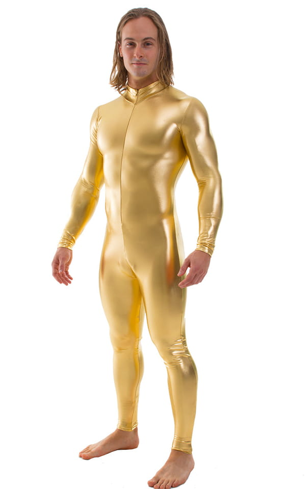 Full Bodysuit Zentai Lycra Spandex Suit for men in Liquid Gold 1