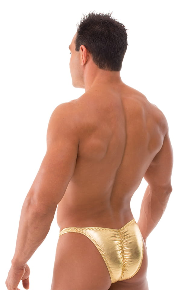 Fitted Pouch Puckered Back Bikini Swimsuit in Metallic Liquid Gold 3