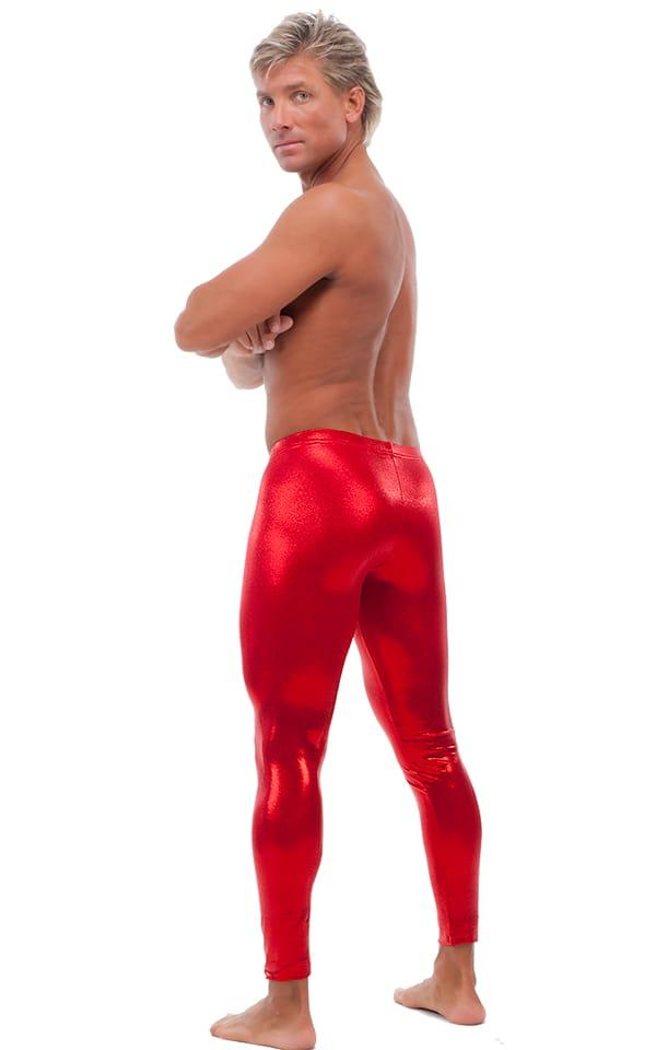 Mens Low Rise Leggings Tights in Mystique Red nylon/lycra 3