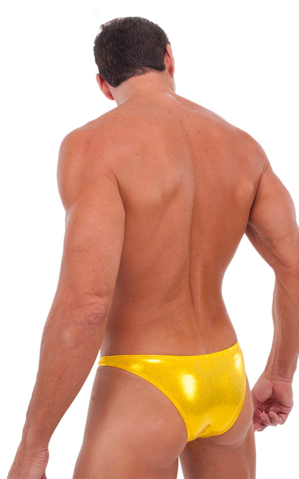Exotic Dancer - Pouch Enhanced - Pistol Bikini in Metallic Gold Chartreuse 3