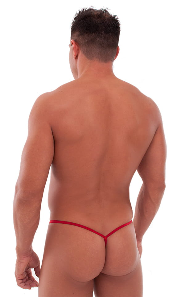 Teardrop G String Swim Suit in Semi Sheer ThinSkinz Red 3