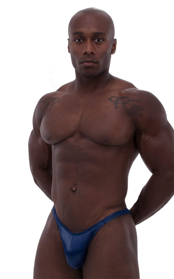 mens classic bodybuilding posting suit blue front