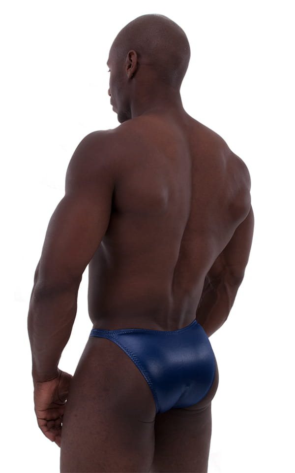 mens classic posing suit blue back