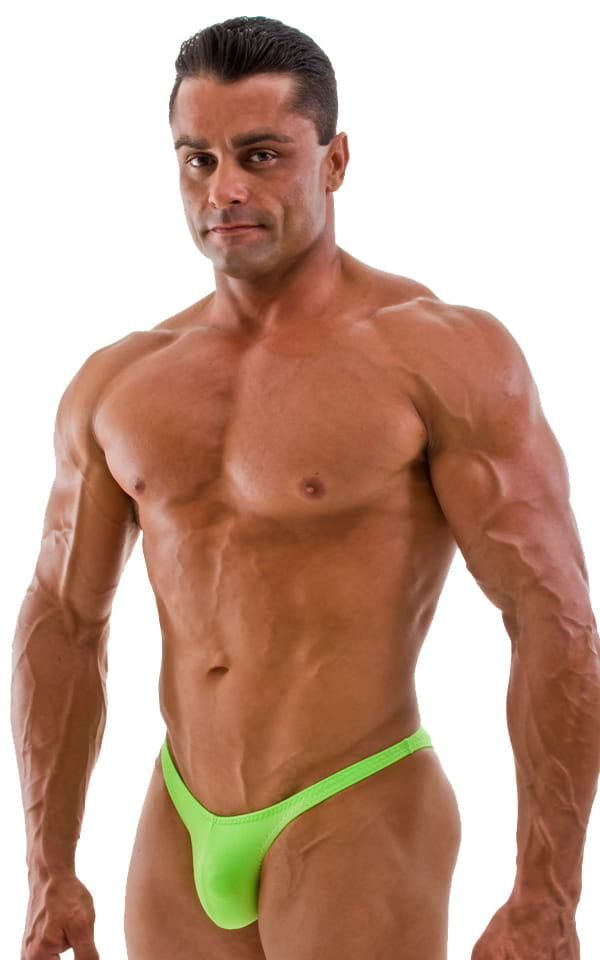 Posing Suit - Fitted Pouch - Puckered Back in Neon Lime 1