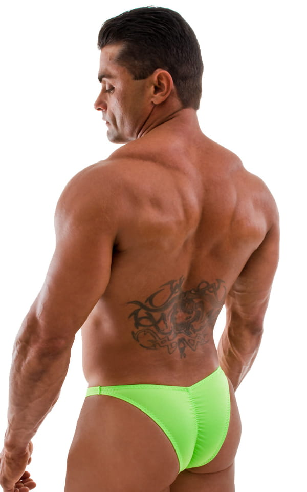 Posing Suit - Fitted Pouch - Puckered Back in Neon Lime 3